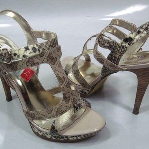 Guess Women's Logo T-Strap Sandals Shoes Heels 7.5